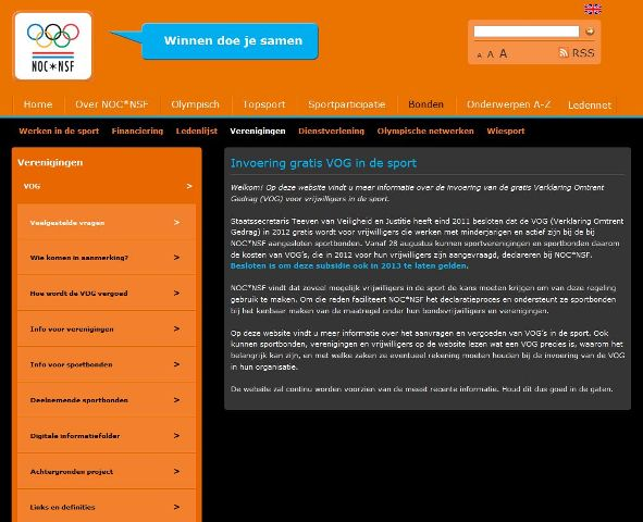 Screenshot website VOG in de Sport